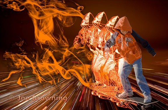 skater on fire