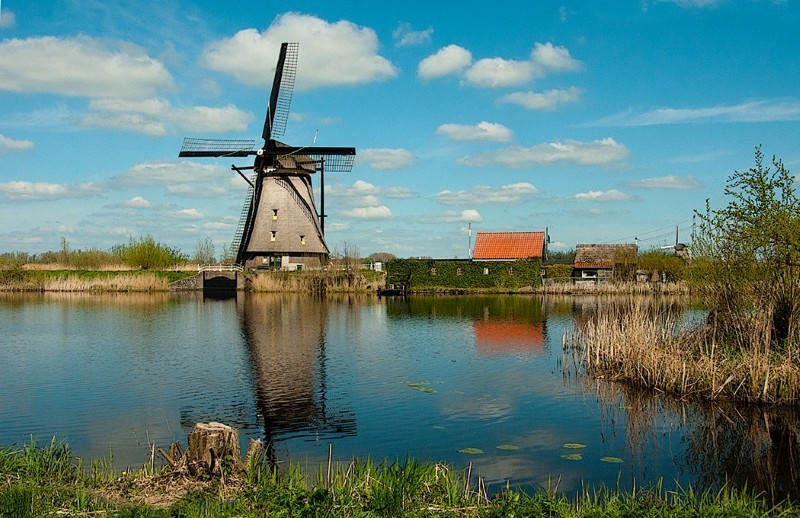 Antique Windmill at Kinderdijk