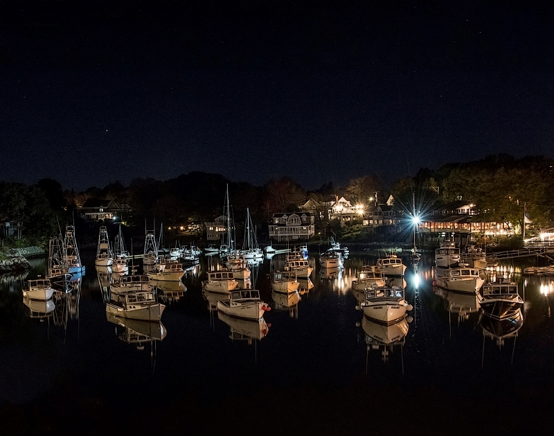 Perkins Cove on a Starry Night